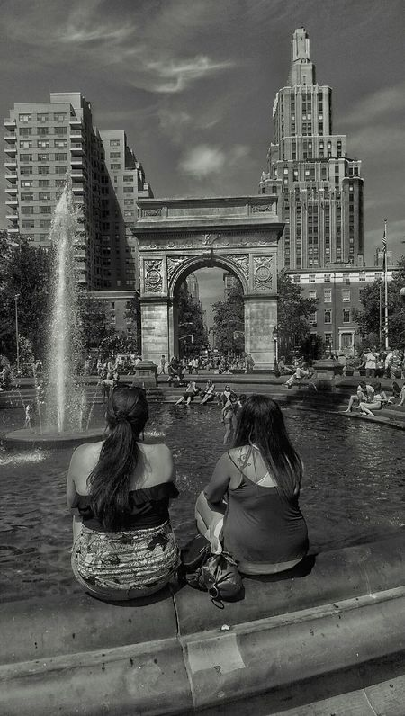 kids being kids. Streetphotography Black And White Washingtonpark Monochrome New York Vintage Light And Dark LGarciaPhotography Reflections Architecture