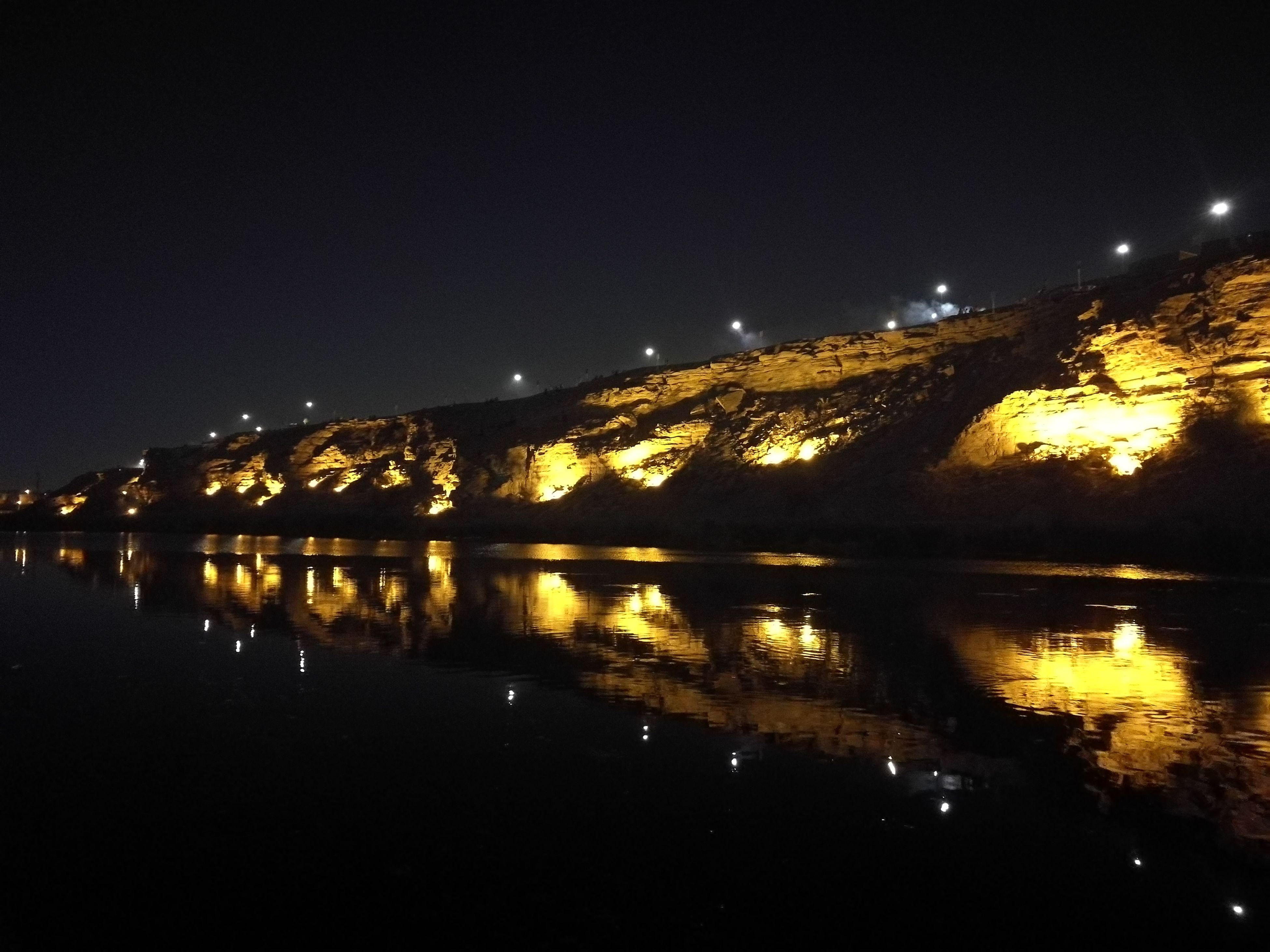 Namar Dam Riyadh City Night Reflection Water Sky Nature Illuminated Outdoors No People