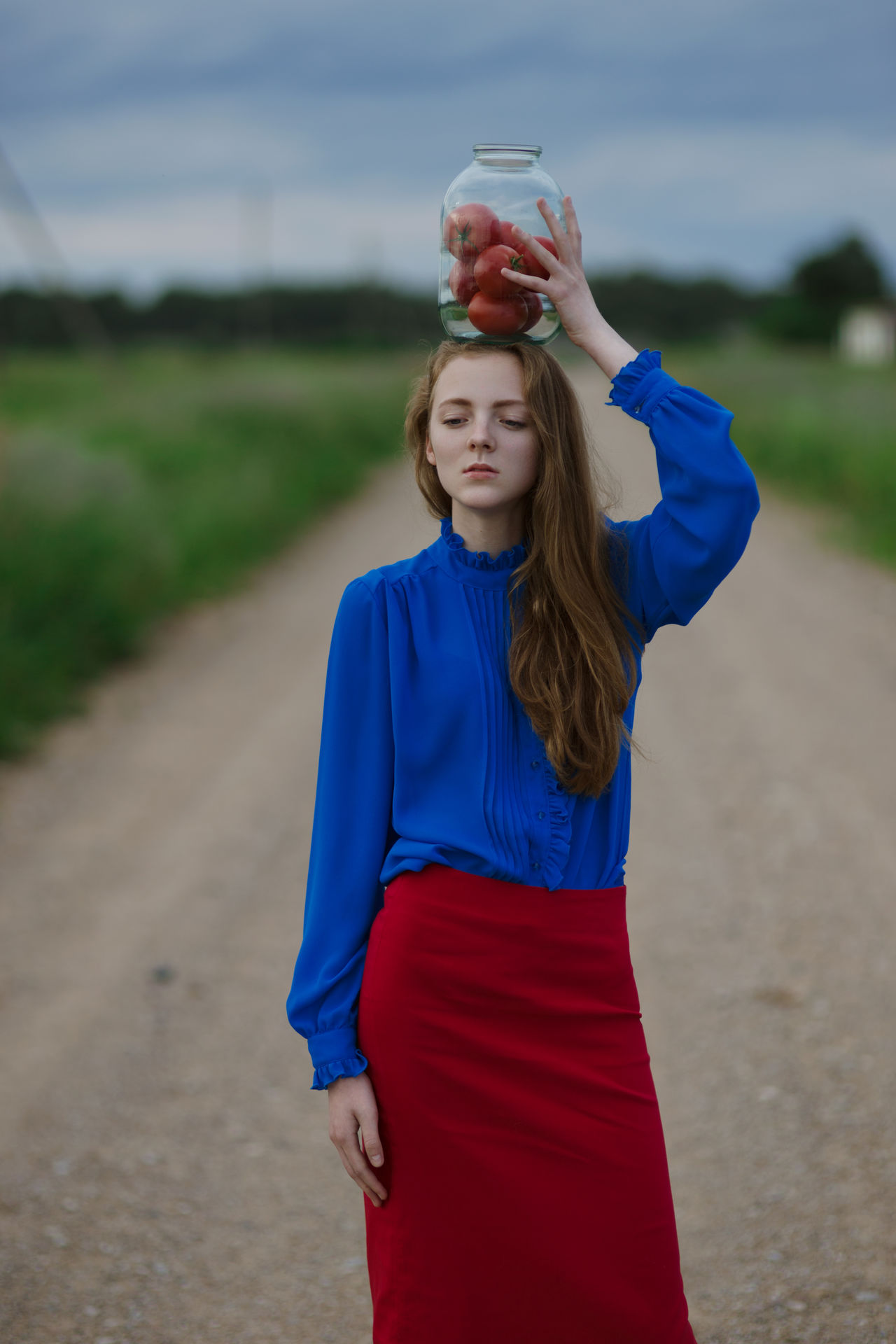 https://www.instagram.com/eglelaurinavice/ Blue Casual Clothing Countryside Day Focus On Foreground Folk Front View Girl Leisure Activity Lifestyles Nature One Person Outdoors Portrait Of A Woman Real People Red Sky Standing Woman Women Who Inspire You Young Adult Young Women