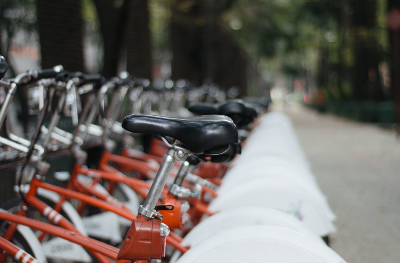 Beautiful stock photos of mexico, Bicycle, Day, Focus On Foreground, In A Row