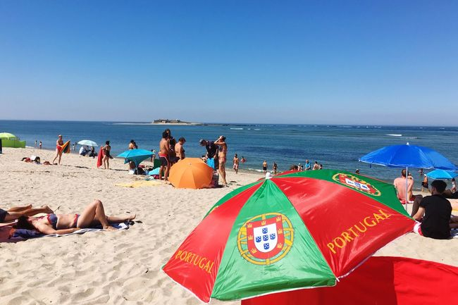 Portugal mon amour... Portugal_lovers Summertime Beachphotography Color Of Life Ocean Blue Sky Summer Summer Views Relaxing Greetings From Portugal ☀️