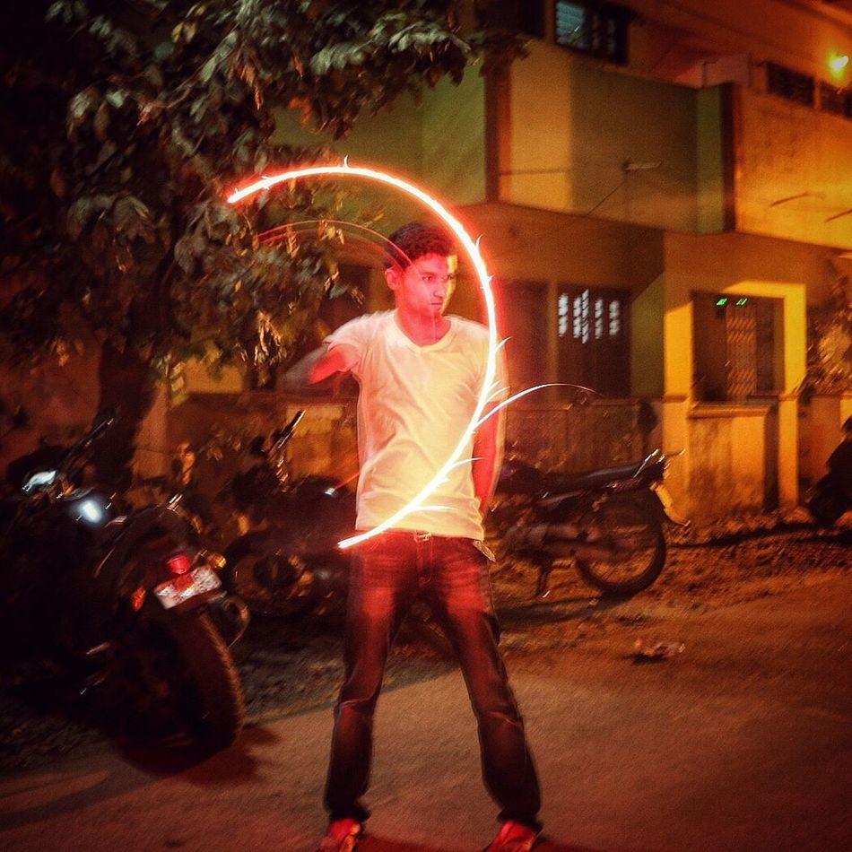 Fire Trail..! Night Motion Illuminated Fireworks Firework Display