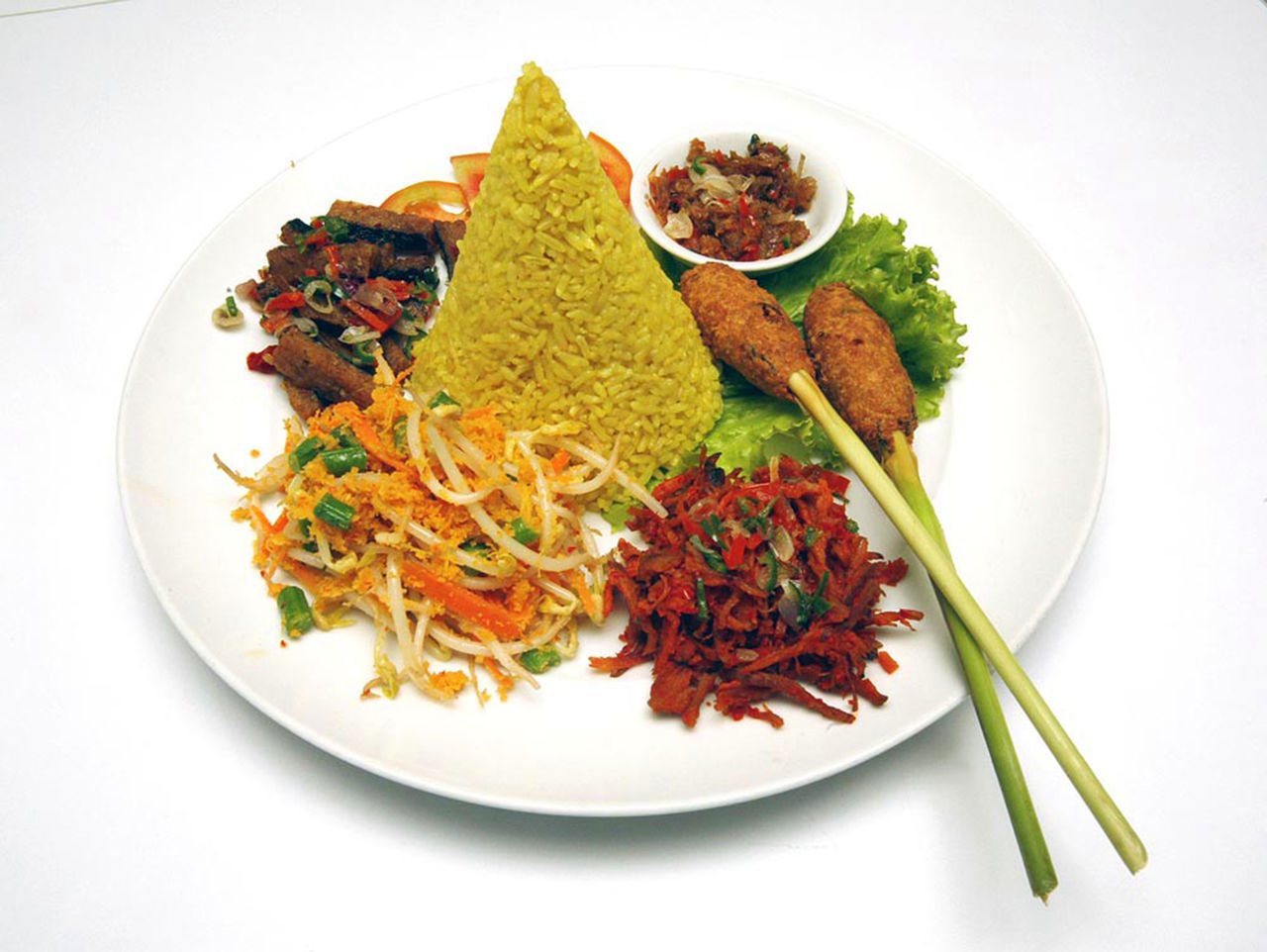 Nasi Tumpeng Bowl Close-up Composition Food Healthy Lifestyle INDONESIA Meal Meat Nasi Tumpeng Nasitumpe Organic Overhead View Still Life Traditionalfood