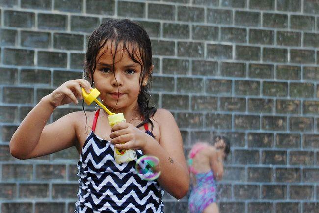 Bubbles Summer Children Enjoying Life Bubbles Water