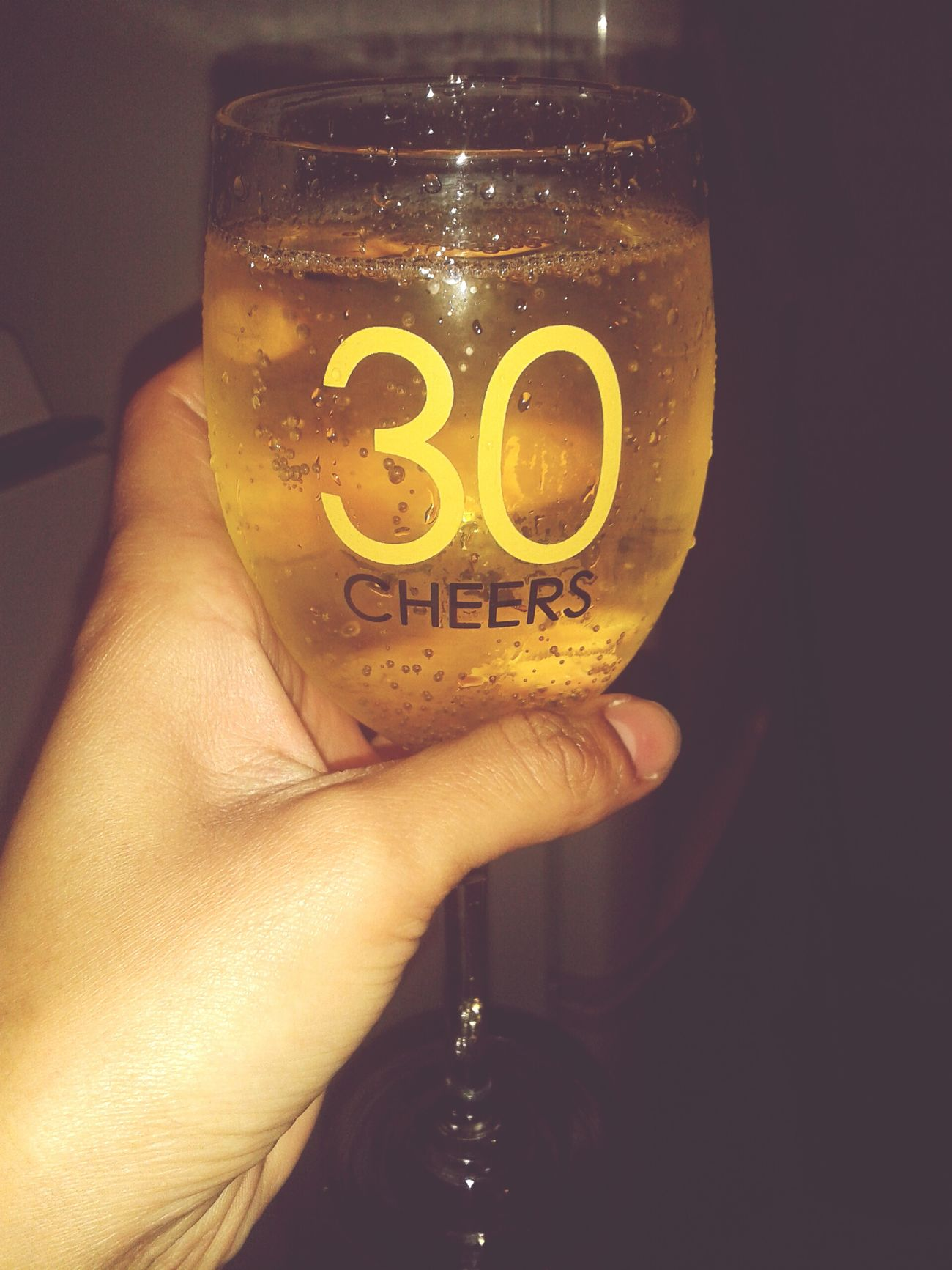 Drinking Wine Chilling Gettin Tipsy using my birthday glass :)♡