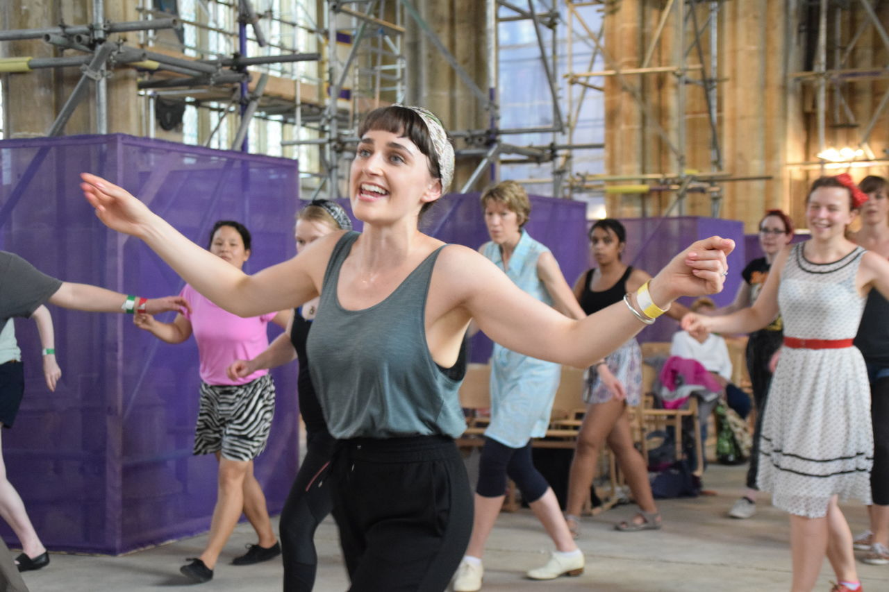 Adult Cheerful Dancing Day Enjoyment Exercise Class Fun Happiness Hull 2017 Hullzapoppin Hullzapoppin 2017 Indoors  Leisure Activity Lifestyles Lindyhop Medium Group Of People Performance Skill  Smiling Standing Swing Dance Togetherness Women Young Adult Young Women