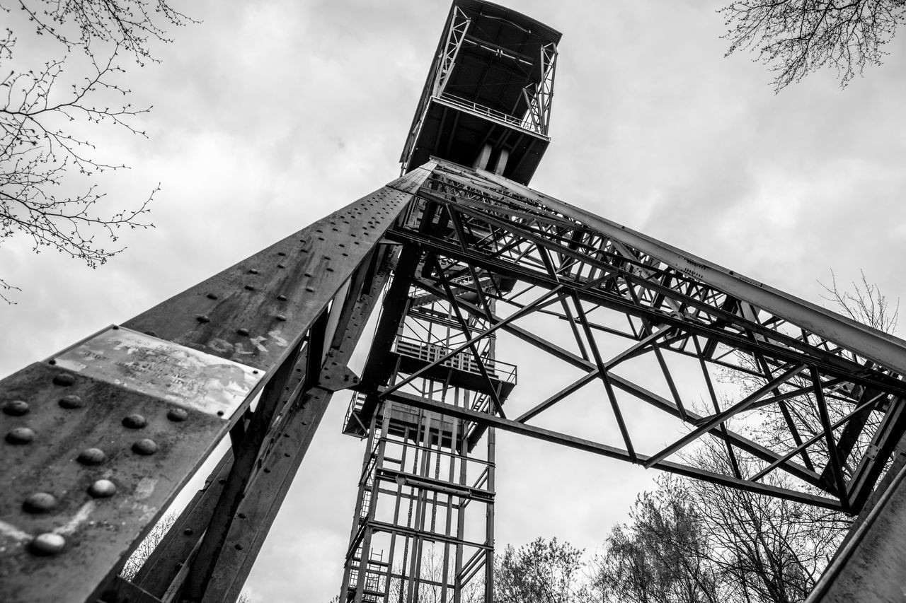 Blackandwhite Built Structure Headframe Low Angle View Mining Mining Heritage Mining History Mining Industry Mining Tower Winding Tower