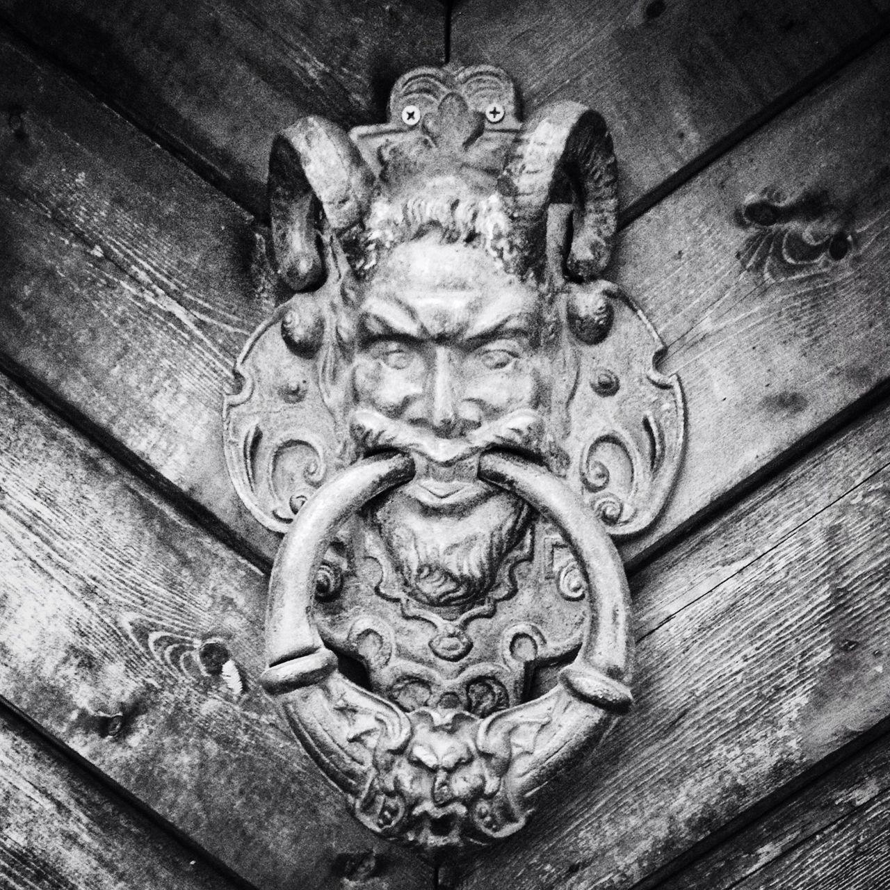 door, close-up, door knocker, wood - material, day, outdoors, no people, lion - feline, architecture