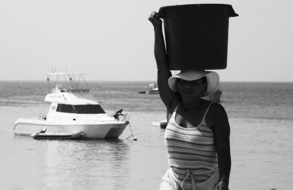 Capo Verde Day Horizon Over Water Nautical Vessel One Person Outdoors Pail On Head Sal Island Santa Maria Sea Summer 2015 Water Woman