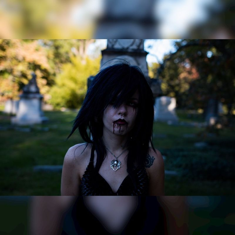 Front View One Person Real People Looking At Camera Waist Up Lifestyles Leisure Activity Young Adult Young Women Portrait Outdoors Tree Day Cemetery Halloween Spooky Atmosphere Spoopy