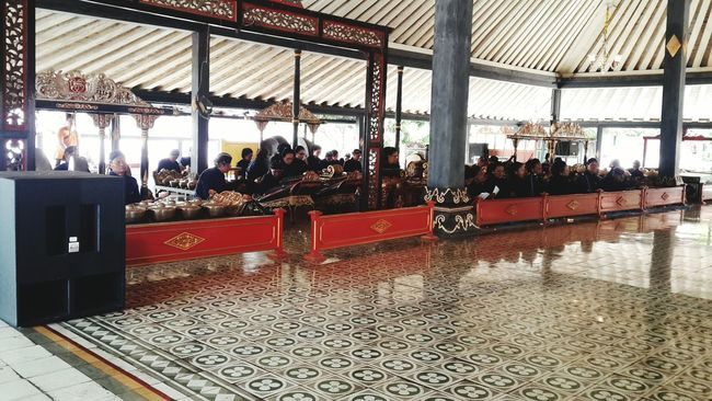 Preparation for Sri Sultan Hamengkubuwono X Birthday, traditional music n there will be a dancing from his daughters, the princess. Long live the Sultan. Keraton Yogyakarta Yogyakarta Castle Amazing Indonesia