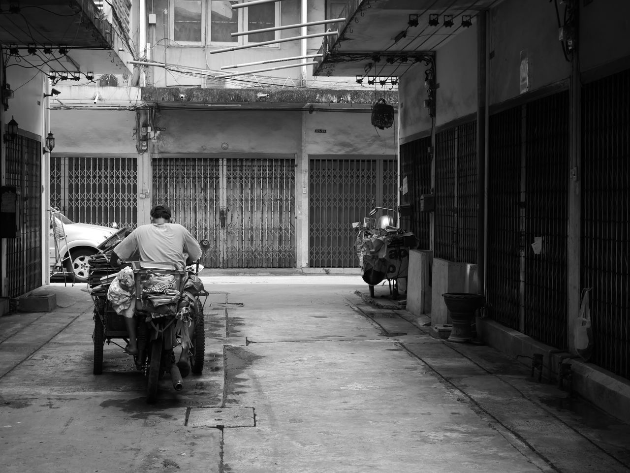Adult Asian  Life Man Monochrome Motorcycle Old Rear View Ride Town