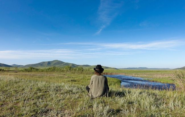 Into the wild steppe of Mongolia Solitude Landscape Tranquility Rear View Getting Away From It All Blue Scenics Adventure Intothewild Khentii Mongolia Solotraveler SoloWomanTraveler