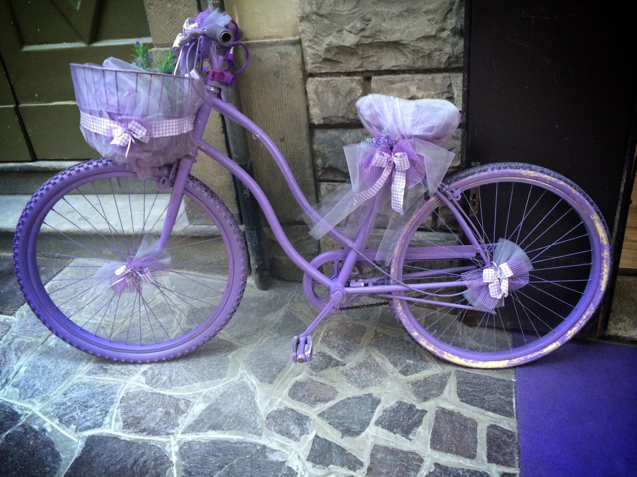 bicycle, transportation, purple, land vehicle, stationary, flower, no people, outdoors, day