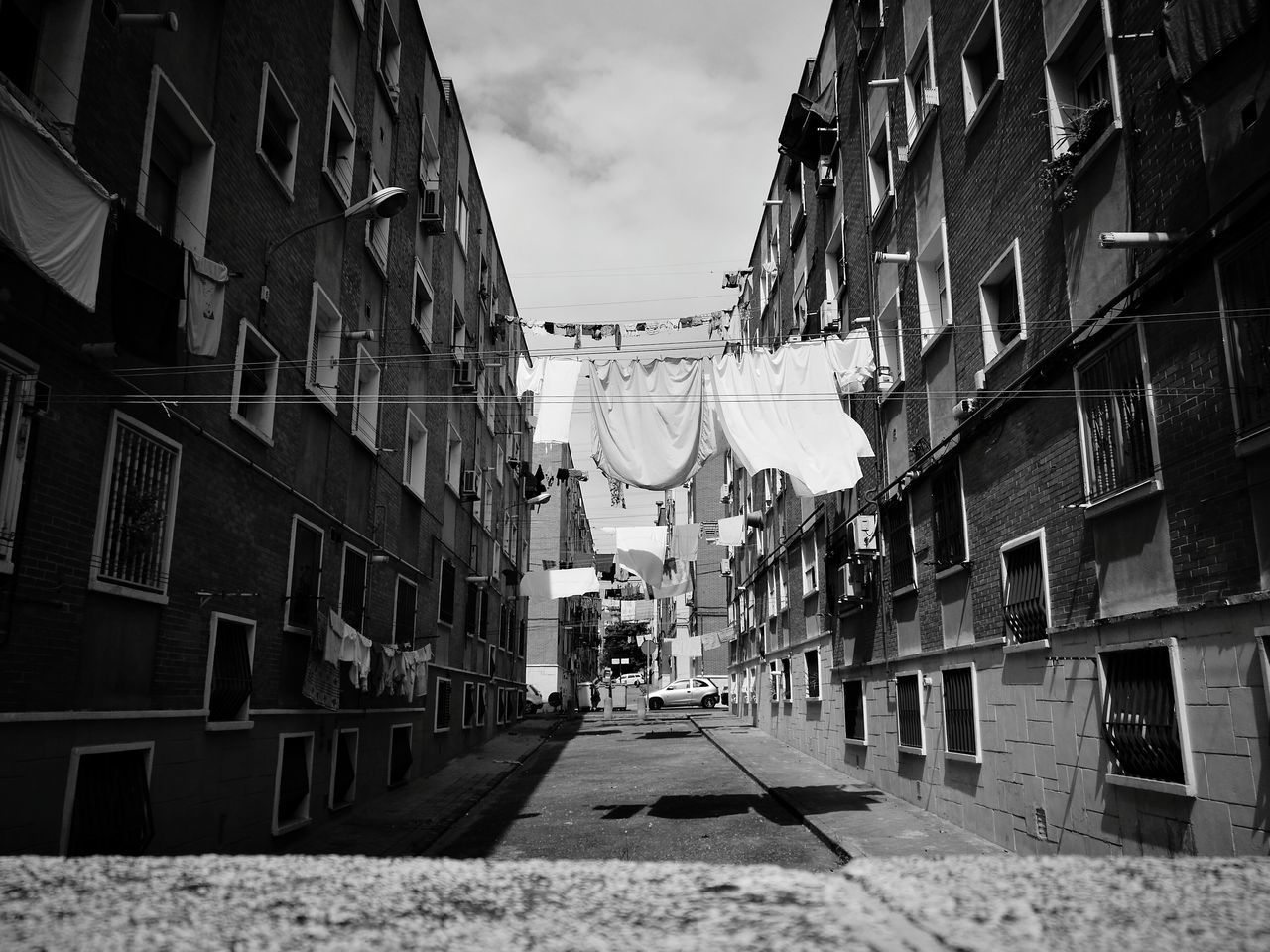 Black & White Building Exterior Clothes Line Architecture Day Built Structure Outdoors Sky No People City HuaweiP9 Madrid Madrid Spain Neighbors Neighborhood Life
