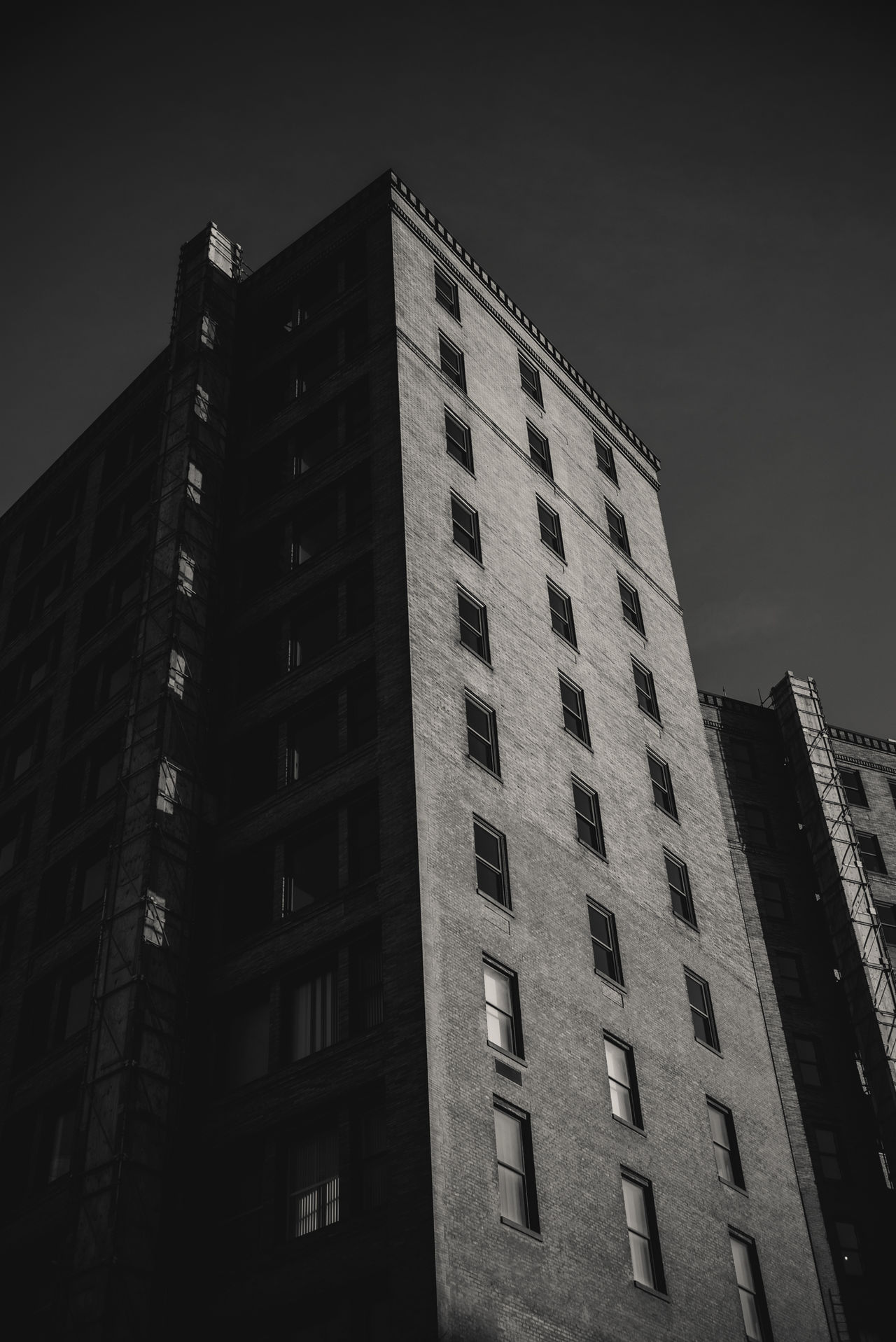 Architectural Architecture Black And White Building Exterior Buildings City Light And Shadow Low Angle View Monochrome Rochester, NY Sky The Architect - 2017 EyeEm Awards Urban