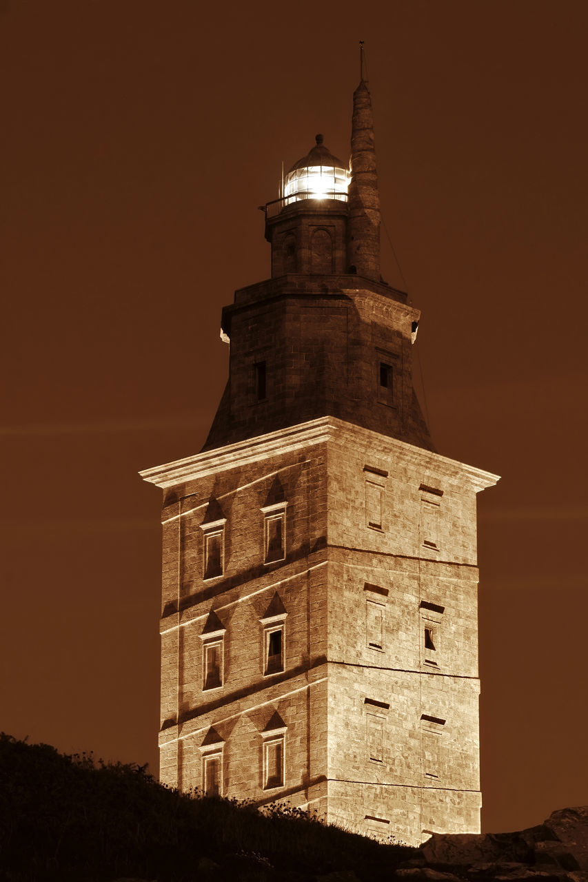 architecture, tower, night, sky, history, no people, sunset, building exterior, clock tower, illuminated, built structure, low angle view, outdoors, moon, nature