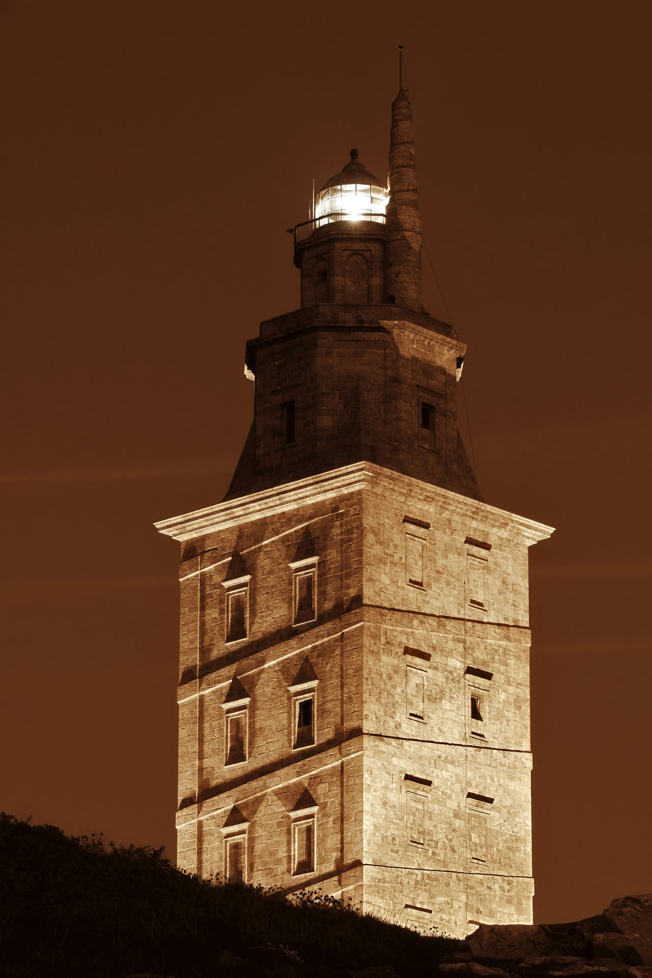 Tower of Hercules at night , sepia tone Architecture Built Structure Coruña Coruña Galicia Sain Galicia Galicia Spain History Illuminated Lighthouse Moon Night Night Photography No People Roman Architecture Sepia Tone Loving Sepia Toned Sky Torre De Hércules Tower Tower Of Hercules Unesco UNESCO World Heritage Site World Heritage