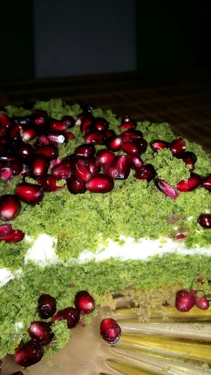 food and drink, food, fruit, freshness, sweet food, indoors, no people, green color, indulgence, dessert, red, close-up, healthy eating, ready-to-eat, pomegranate seed, day
