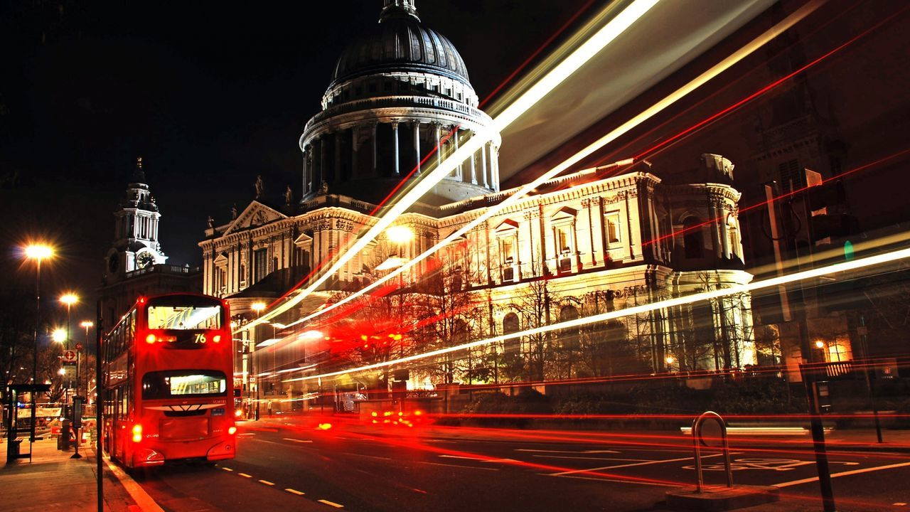 Bus Capital Cities  Citites At Night City London Night Red Road S Timelapse Traffic