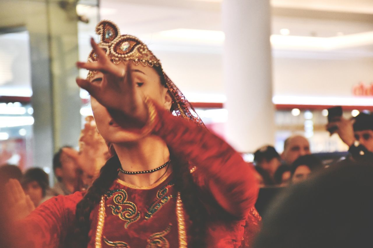 Indoors  Adults Only Lifestyles Young Adult One Woman Only Women Red Red Dress Dancing Dancer Happiness Close-up Movement Art Is Everywhere Portrait One Person Large Group Of People Art The Street Photographer - 2017 EyeEm Awards