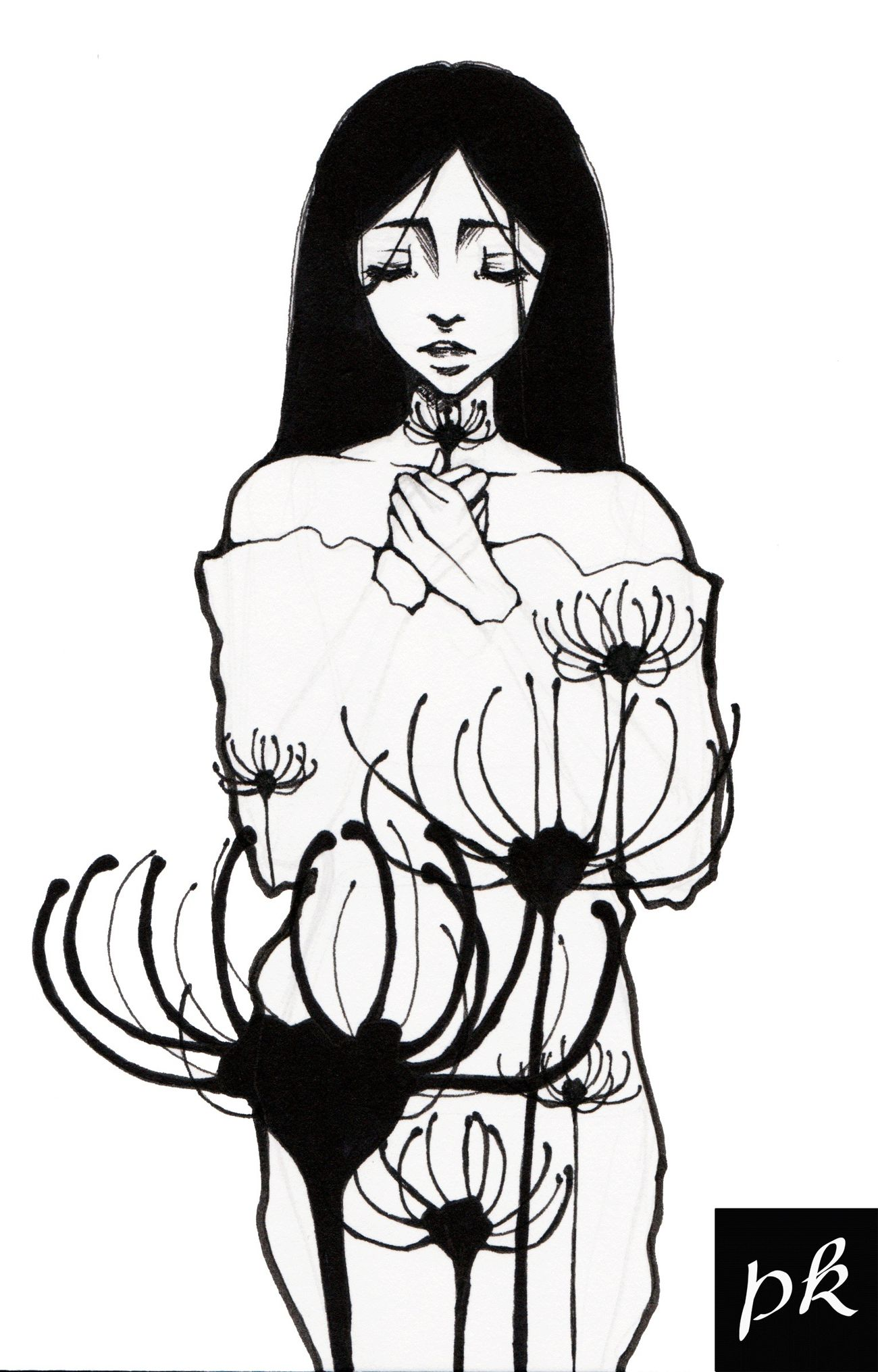 Voluptas Art MyArt My Art Art, Drawing, Creativity Girl Flower Beauty Manga Lineart Blackandwhite Black And White