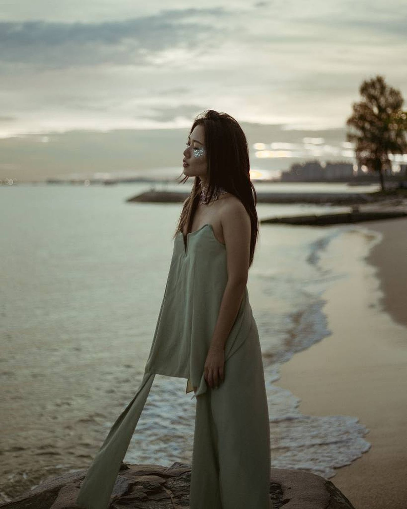 Andrea by the sea Sea One Woman Only Long Hair Beach Nature Photography Water_collection Nature Natural Light Portrait Women Of EyeEm Beautiful People Outdoors Beauty Moody Water Portrait Photography Singapore