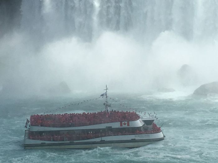 Niagara HORN BLOWER Water Mist Wet And Wild Happy Tourists Happy People Canada Side Nautical Vessel Transportation Water Mode Of Transport Day Sea Outdoors Nature No People Fog Beauty In Nature Sky
