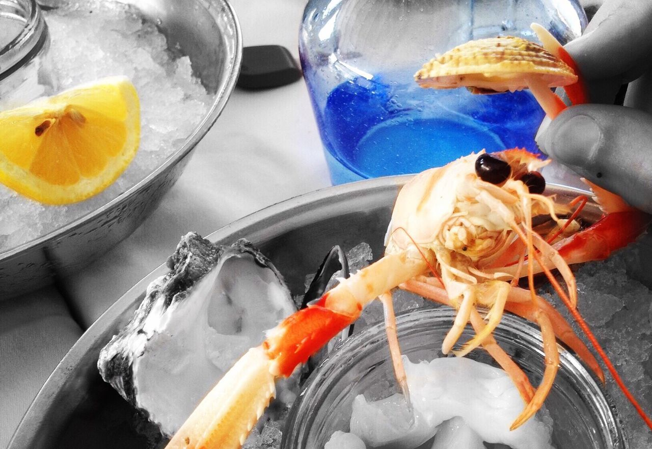 Close-up Of Seafood On Table