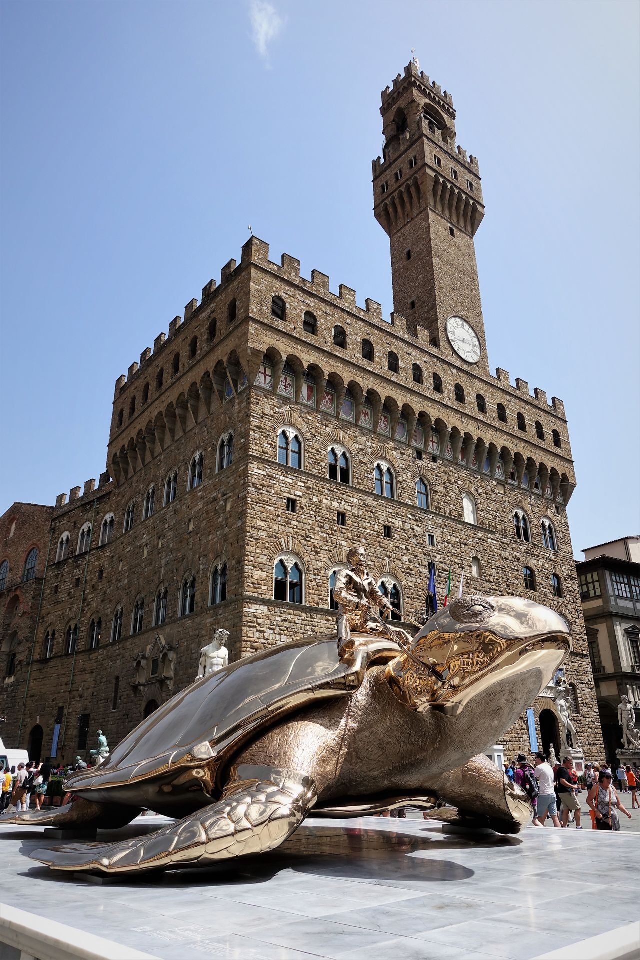 Palazzo Vecchio and Piazza della Signoria Architecture Building Exterior City Cityscape Day Golden Turtle History Jan Fabre Modern Art No People Outdoors Sculpture Searching Utopia Sky Statue Travel Destinations Water EyeEmNewHere