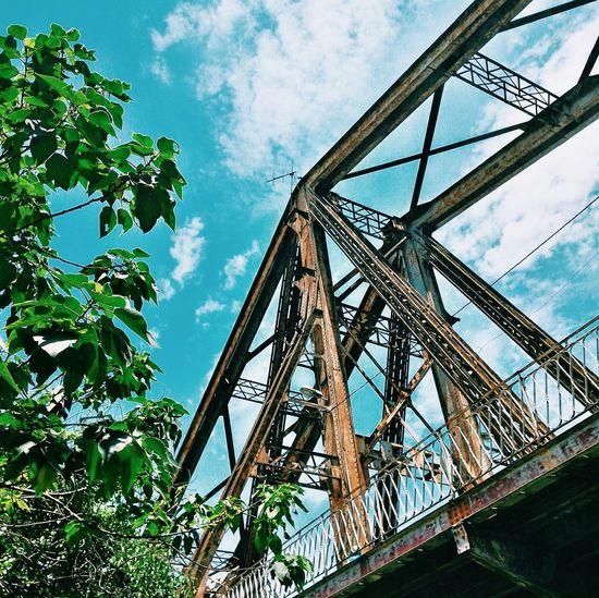 Lookupandthrive Ourhanoi Longbienbridge PhonePhotography Details Bluesky Clouds Leaves Bridge Vietnam