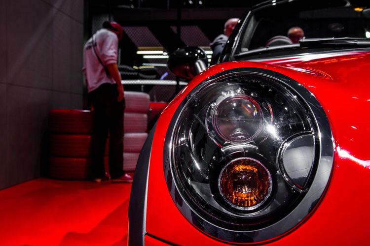Automobile Car Close Up Cooper Mini Detroit Auto Show 2014 Headlight Mode Of Transport Part Of Transportation