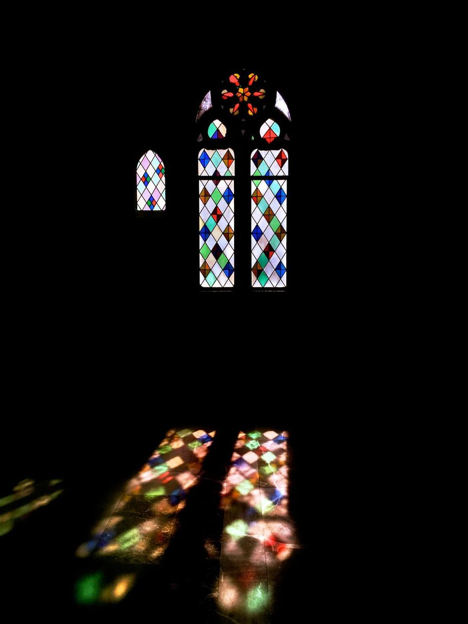 116 / 365 Architectural Detail Architecture Black Background Design Geometry Pattern Hope Indoors  Multi Colored No People Place Of Worship Religion Spirituality Stained Glass Stained Glass Window Window