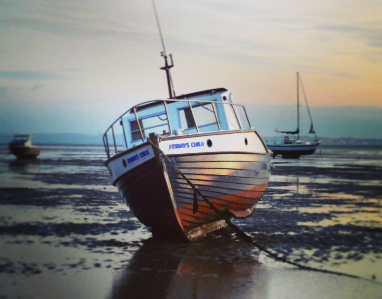 Sea Water Beach Nautical Vessel Sunset Transportation No People Sky Outdoors Tranquil Scene Sand Day Southend On Sea Yacht