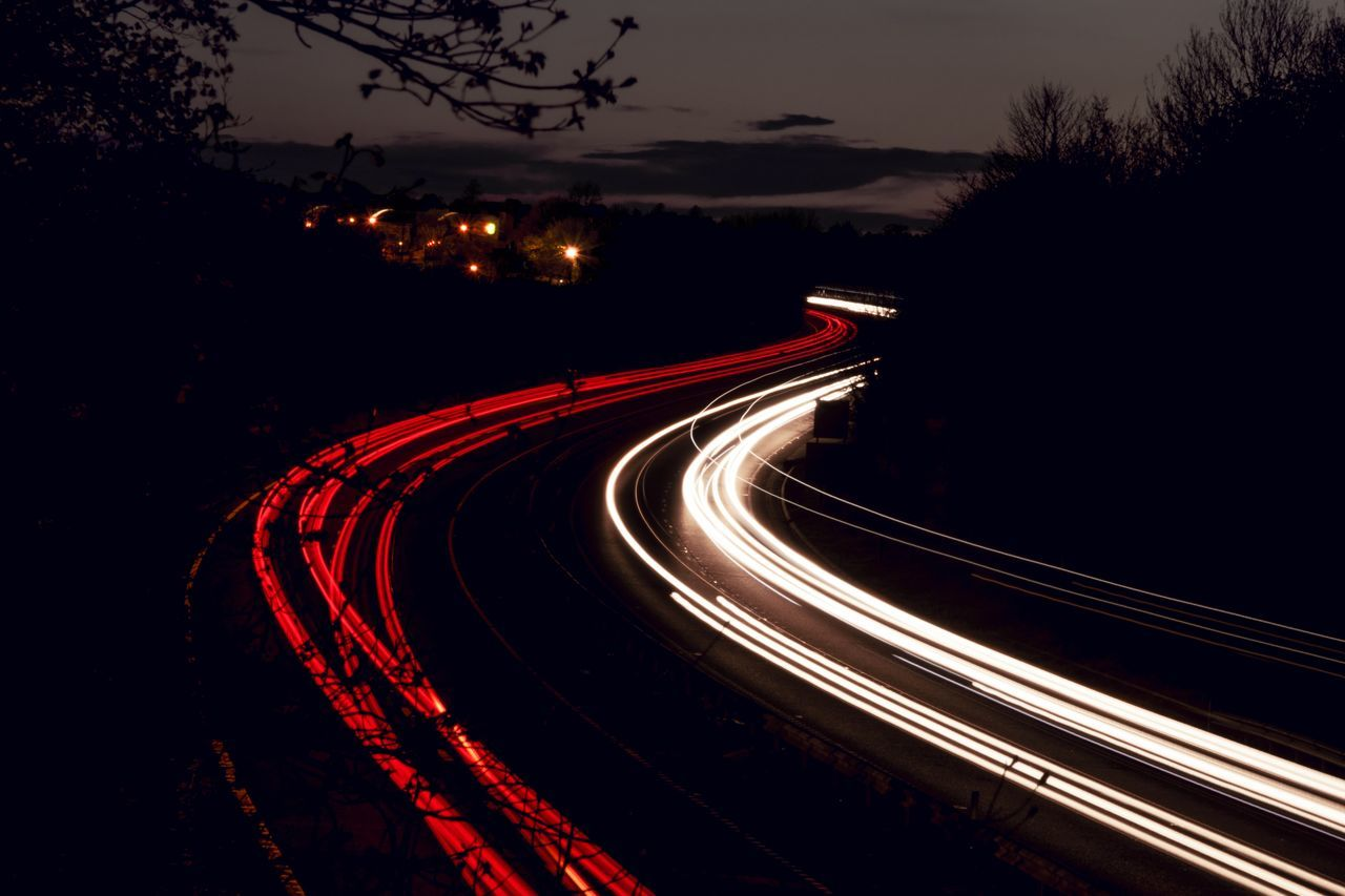 Car Lights Curves Dark High Way Long Exposure Long Exposure Night Photography Long Exposure Photography Long Exposure Shot Motion Motor Way Night Outdoors Red Sky Speed Speedway The Way Forward Light Trail Overnight Success