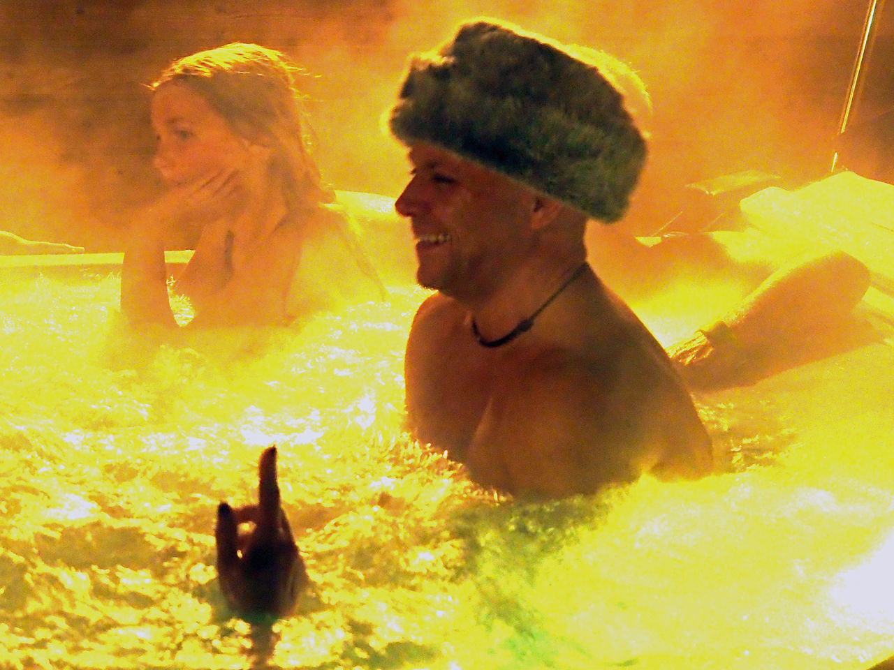 Hat in Hot Tub Close-up Enjoyment Fun In The Tub Happiness Hot Hat Hot Head Hot Tub Leisure Activity Lifestyles Men My Year My View Party - Social Event Real People Shirtless Smiling Two People Young Adult