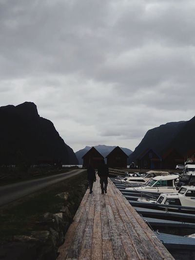 Norway / Norwegen Fjord Norway Trip Journey Travel Cloud - Sky Real People Rear View Day Outdoors One Person People