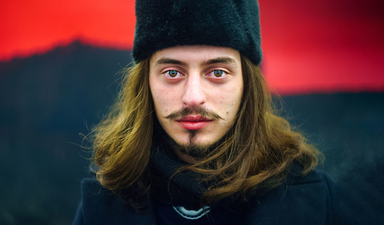 Portrait Looking At Camera One Person Front View Winter Adult Young Adult Long Hair Adults Only People Cold Temperature Beautiful People Red Warm Clothing Beauty Headshot Moustache The Portraitist - 2017 EyeEm Awards