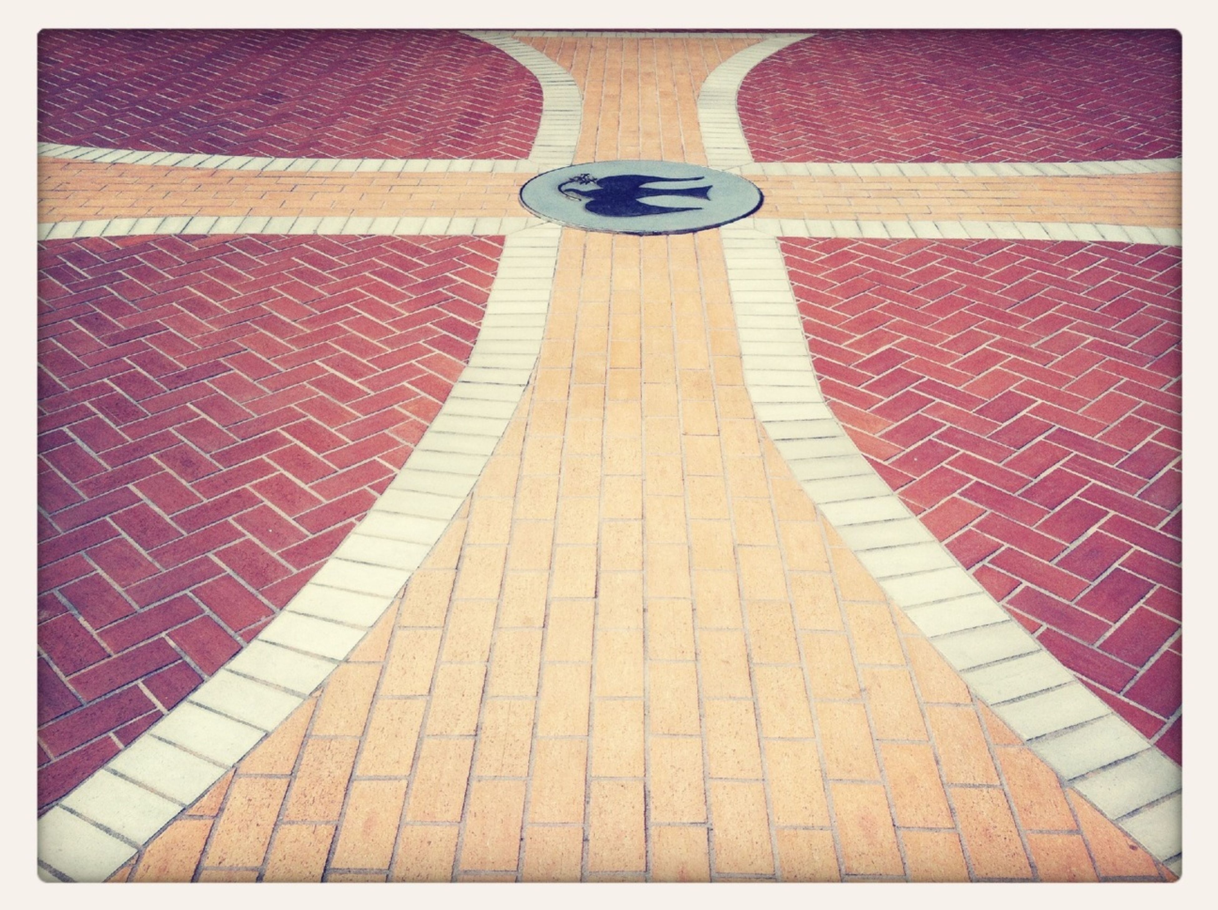 transfer print, red, auto post production filter, cobblestone, the way forward, tiled floor, pattern, paving stone, shadow, empty, footpath, street, walkway, sunlight, flooring, high angle view, indoors, sidewalk, day, pavement
