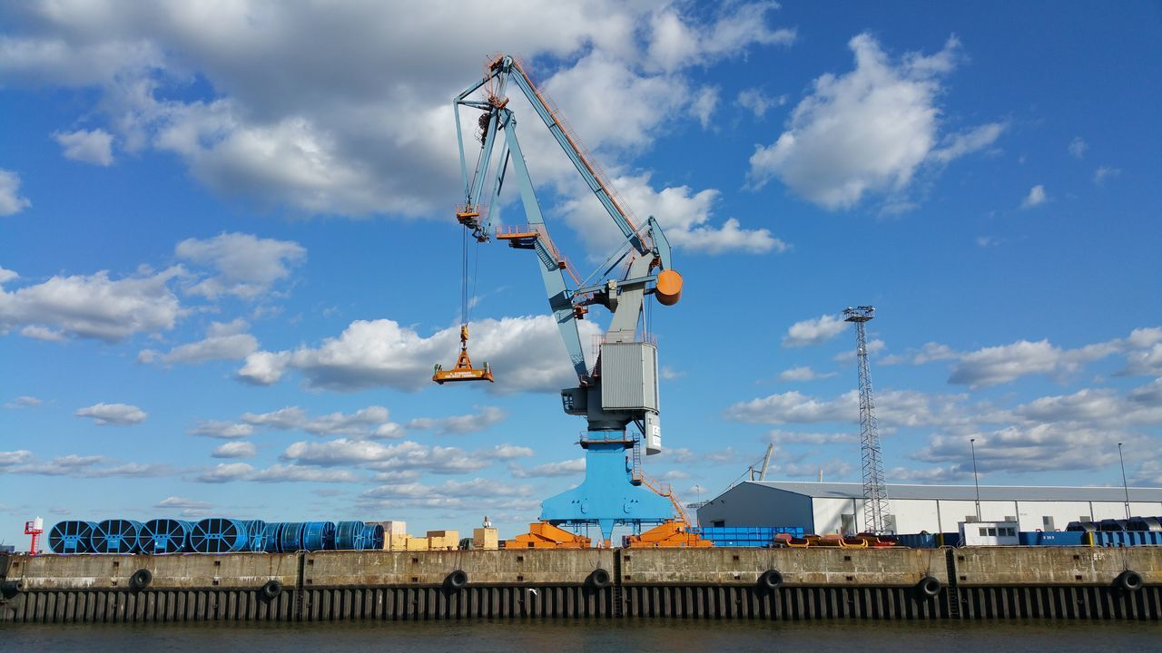 Clouds Clouds And Sky Crane Hamburg Hamburg Harbour Heavy Duty Industry Large Sky Transshipment Point