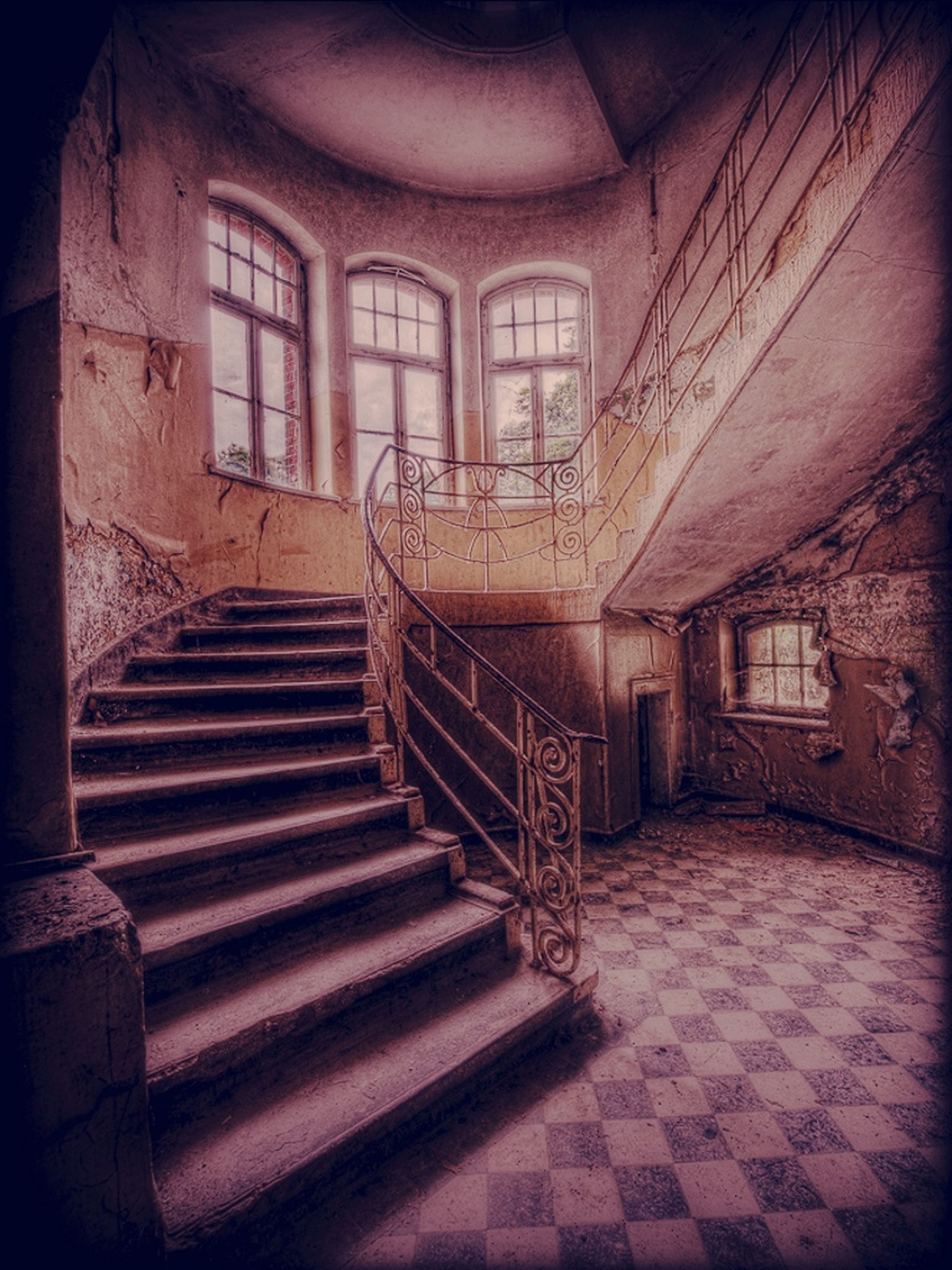 steps, steps and staircases, architecture, staircase, built structure, indoors, railing, building exterior, building, stairs, the way forward, wall - building feature, old, absence, no people, house, empty, sunlight, door, day