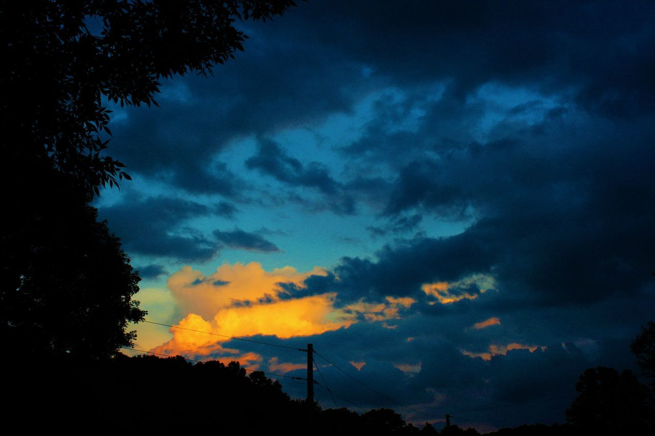silhouette, sunset, sky, cloud - sky, nature, tree, scenics, low angle view, beauty in nature, no people, tranquility, tranquil scene, outdoors, technology, windmill, industrial windmill, day