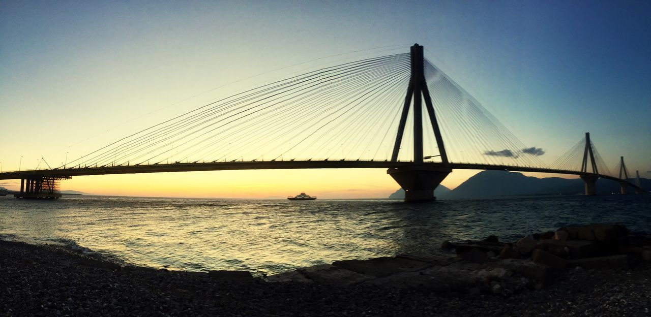 Rio-Antirio Bridge Connection Bridge - Man Made Structure Engineering Built Structure Architecture Suspension Bridge Water Transportation Travel Destinations Tourism Outdoors Sky Cable-stayed Bridge Clear Sky RioAntirio Peloponesse GREECE ♥♥ Sunrise