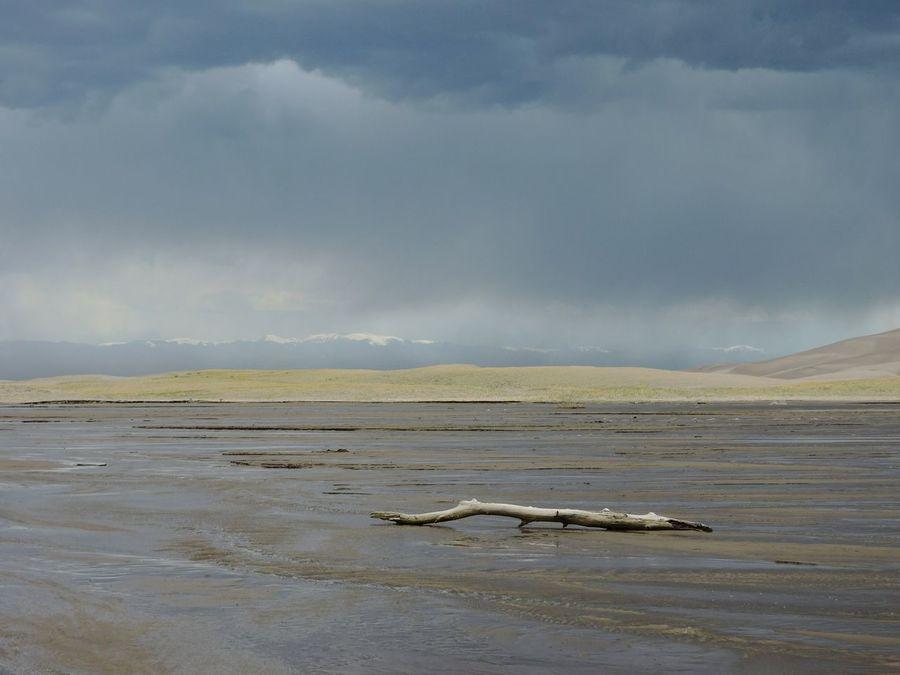 Medano Creek Great Sand Dunes National Park Colorado . Sand Dunes Vast Landscape Driftwood Sand Wet Sand Western USA Distant Mountains Summer Rain Weather Storm Clouds Virga Rain Shadow Hiking