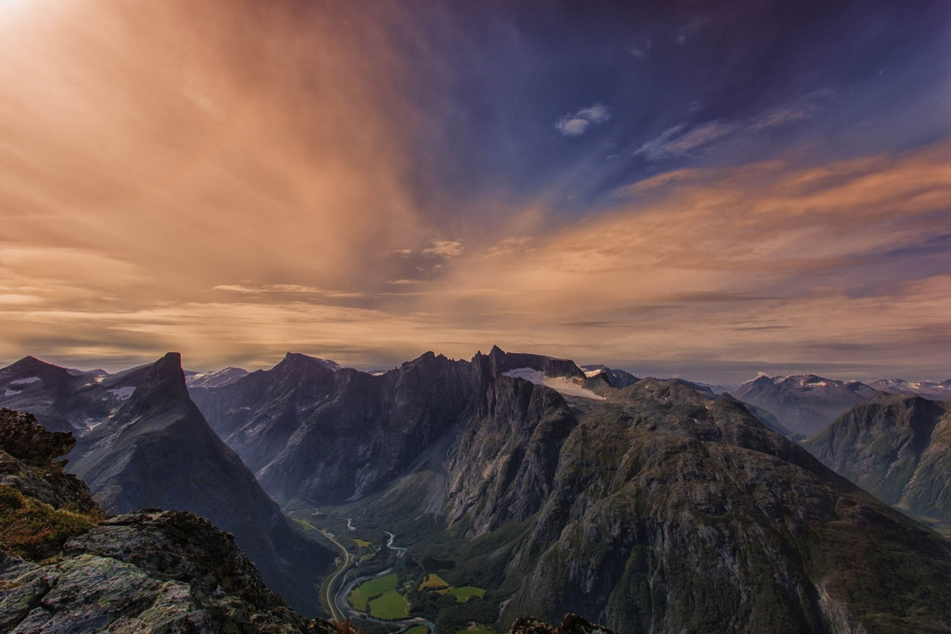 mountain, scenics, tranquil scene, beauty in nature, tranquility, sky, mountain range, snow, nature, cloud - sky, winter, cold temperature, sunset, idyllic, landscape, physical geography, non-urban scene, season, weather, majestic