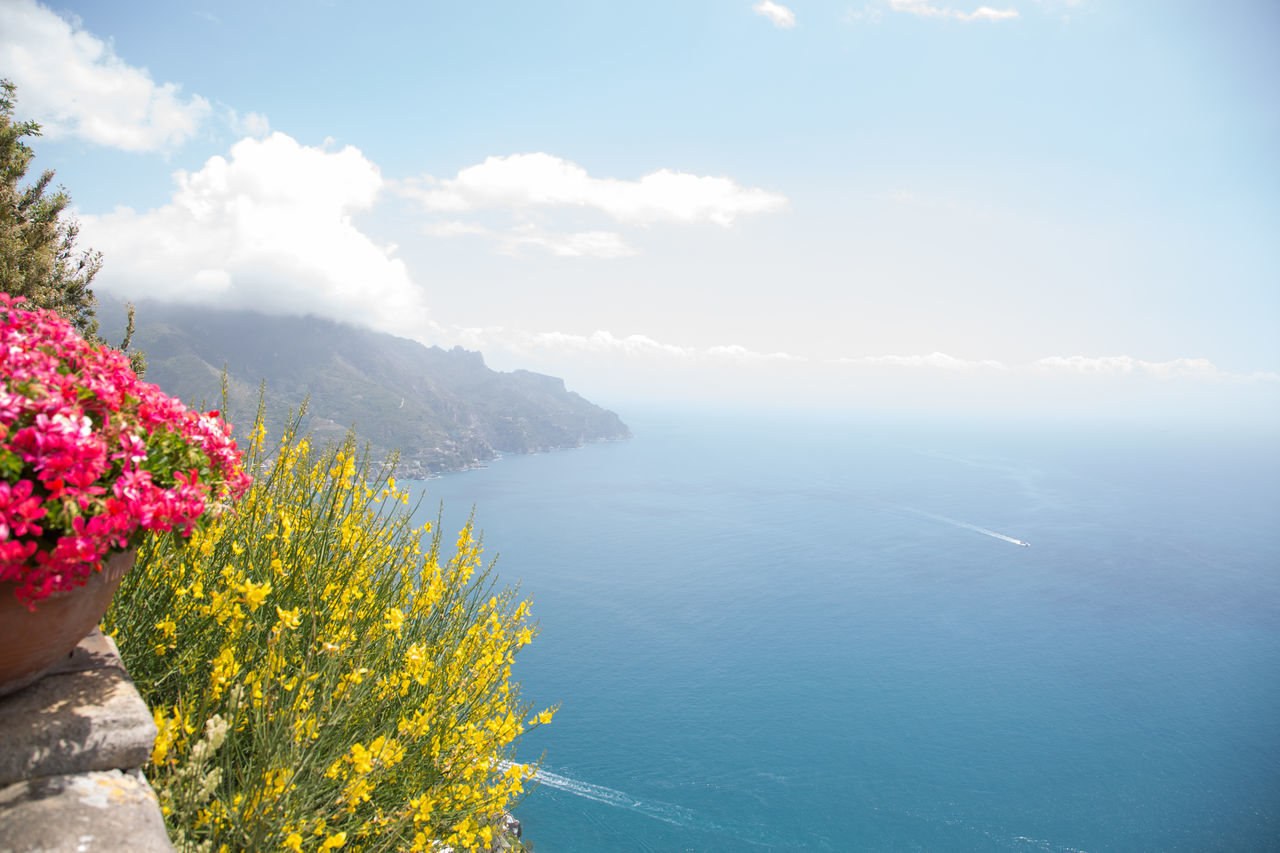 Amalfi Coast Beauty In Nature Day Endless Flower Growth Horizon Over Water Mountain Nature No People Outdoors Scenics Sea Sky Summer Tranquil Scene Tranquility View Villa Cimbrone Water