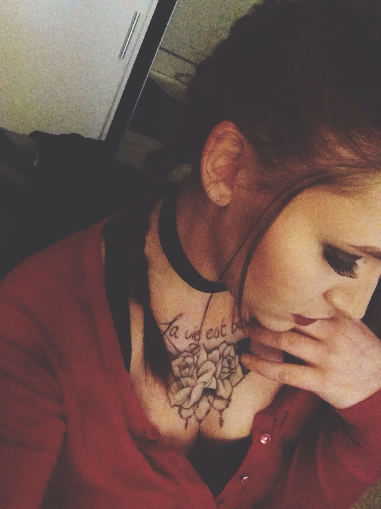 Braided Hair Real People Indoors  Women Young Women Choker Tattoo Inkedgirls