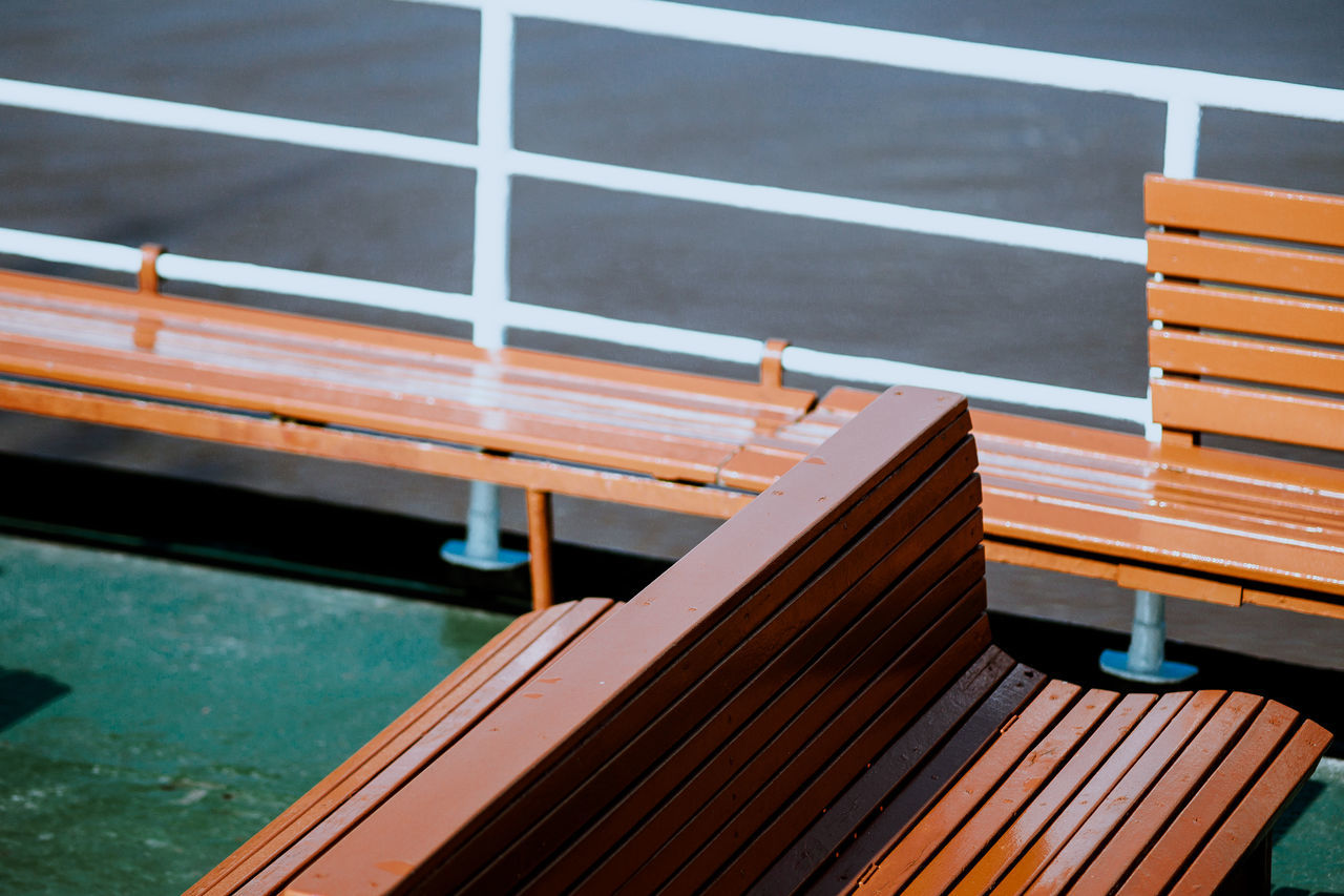 Boat Trip Bench Boat Close-up Day Harbour High Angle View No People Outdoors Part Of Ship Water Wood - Material