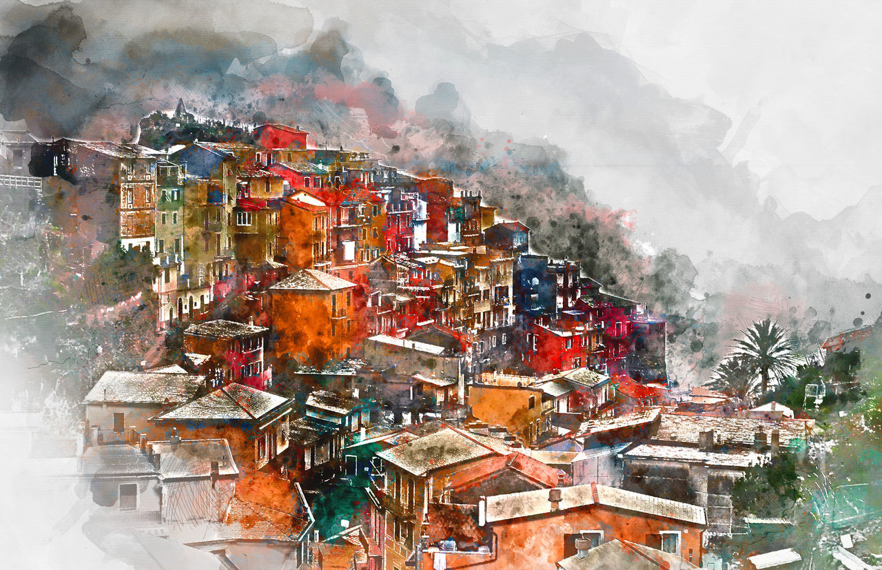 Digital watercolor painting of Manarola. Manarola is a small coastal village in the Italian region of Liguria, Cinque Terre. Province of La Spezia. Italy Ancient Architecture Cinque Terre Coastal Colorful Digital Art Digitally Generated Europe Famous Place House Italian Riviera Italy La Spezia Landscape Liguria,Italy Manarola Mediterranean  Multicolored Houses Outdoors Picturesque Village Rooftop Travel Destinations UNESCO World Heritage Site Village Watercolor Watercolor Painting