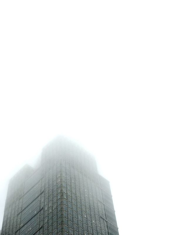 Foggy building.